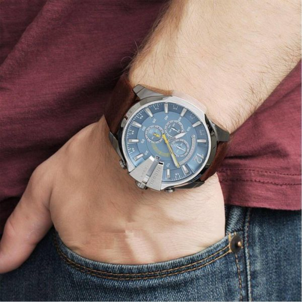 DIESEL DZ4281 Herrenuhr Chronograph Leder Braun / Blau - John-Calf