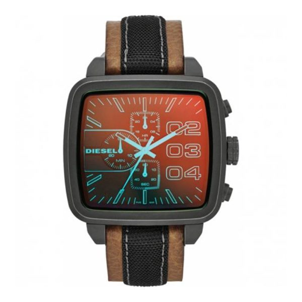 DIESEL DZ4303 Herrenuhr Chronograph Leder Grau / Braun - John-Calf