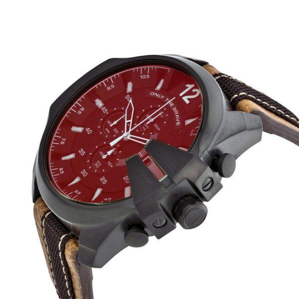 DIESEL Mega Chief DZ4305 Herrenuhr Chronograph Leder Grau / Braun - John-Calf