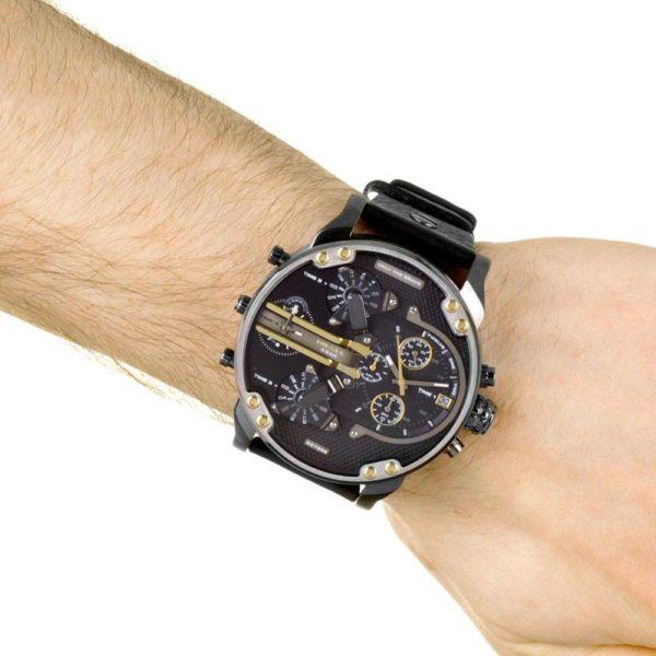 DIESEL Mr. Daddy 2.0 DZ7348 Herrenuhr Chronograph Leder Grau / Schwarz - John-Calf